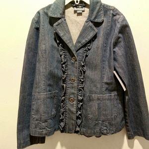 Girls 8 cute ruffle denim jacket